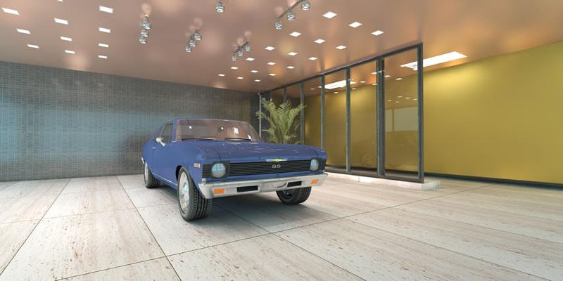 Car showroom panorama